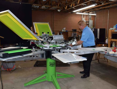 Acme Printing's new screen printing machine for custom tshirts in Morristown, TN.
